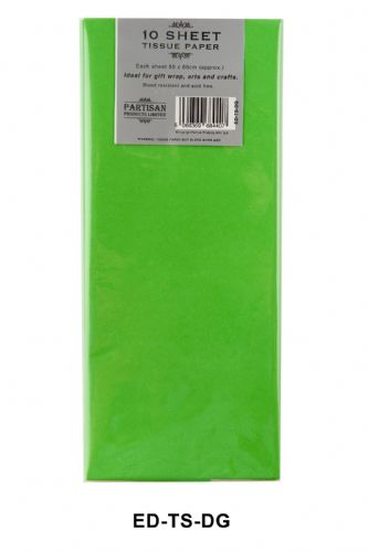 10 Sheet Tissue Paper Dark Green